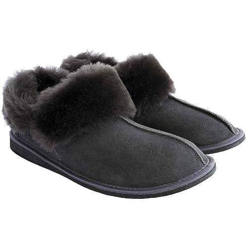 e2604f7ef271 Ciora Women s Luxury Handmade Genuine 100% Sheepskin Ankle Boot Slippers  (Non-Slip Sole