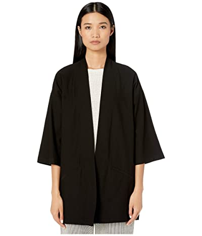 Eileen Fisher Washable Stretch Crepe Kimono Jacket (Black) Women