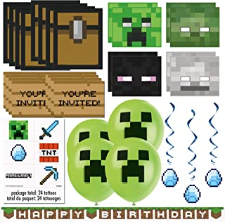 Unique Minecraft Party Favors & Decorations Bundle - Officially Licensed Birthday Party Supplies Minecraft Invitations, Masks, Tattoos, Loot Bags, Banner, Balloons & Hanging Swirls
