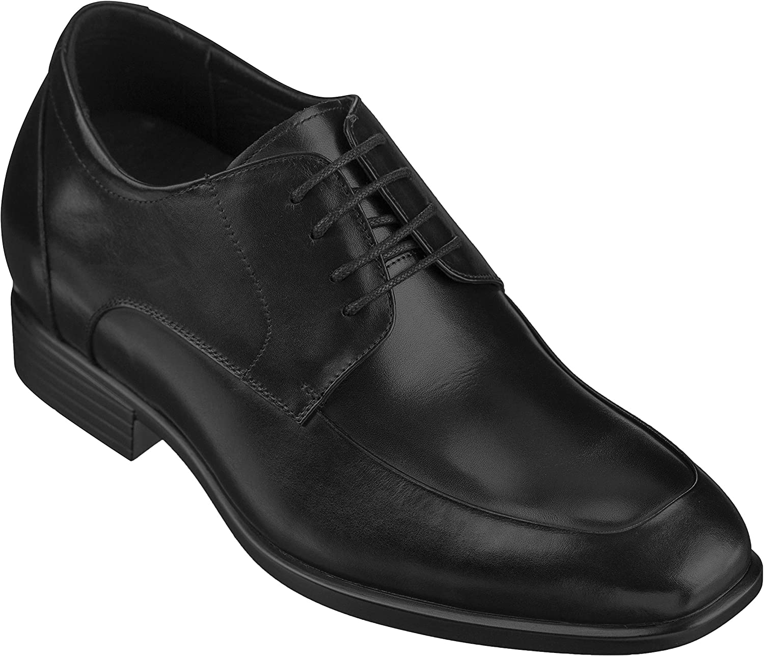 CALTO Men's Invisible Height Increasing Elevator shoes - Black Premium Leather Lace-up Lightweight Formal Oxfords - 3.2 Inches Taller - Y4091