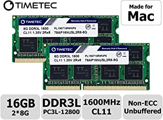 Timetec Hynix IC 16 GB (8GBx 2枚) Mac用 DDR3L 1600 MHz PC3L 12800 SODIMM Apple専用増設メモリ 永久保証 (16 GB (8GBx 2枚))