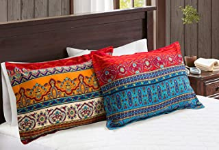 Omelas 2 Pack Bohemian Pillowcase Standard Queen Size for Hair and Skin Boho Floral Colorful Pillow Shams with Evenlop Closure Quality 120gsm Brushed Microfiber Super Soft Breathable (WCFPC,Q)