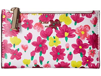 Kate Spade New York Sylvia Marker Floral Small Slim Bifold Wallet (Optic White Multi) Bi-fold Wallet
