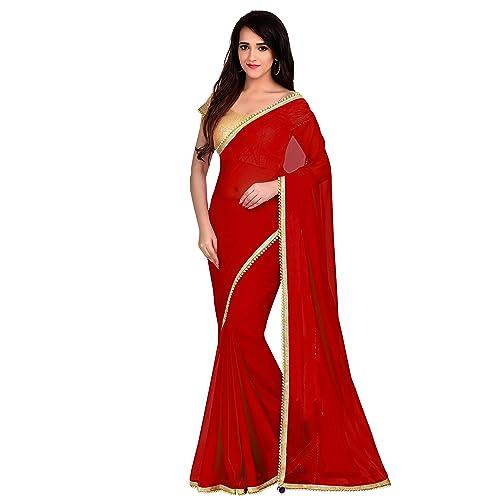 87d529960d4fff Viva N Diva Saree for Women's Red Color Georgette Saree