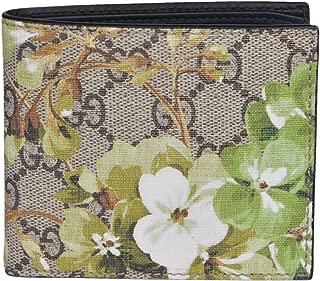 Men's 130 SMLG Beige/Ebony GG Canvas Bi-fold Supreme Blooms Coated Wallet 408666 8966