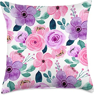 Flock Rose Petal Purple Pink Cushion Cover Scatter 43x43cm Modern Decorative New