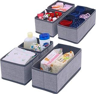 Onlyeasy Set of 6 Soft Fabric Dresser Drawer Bins, Clothing Closet Storage Organizer for Kids/Toddler Room, Nursery, Playr...