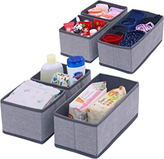 Onlyeasy Set of 6 Soft Fabric Dresser Drawer Bins, Clothing Closet Storage Organizer for Kids/Toddler Room, Nursery, Playroom, Linen-Like Grey Print, MXDS3P2