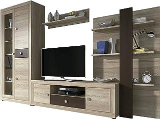 comprar comparacion HomeSouth - Mueble de Comedor con Leds, Salon Vitrina Modelo Julieta, Acabado Color Cambria y Chocolate