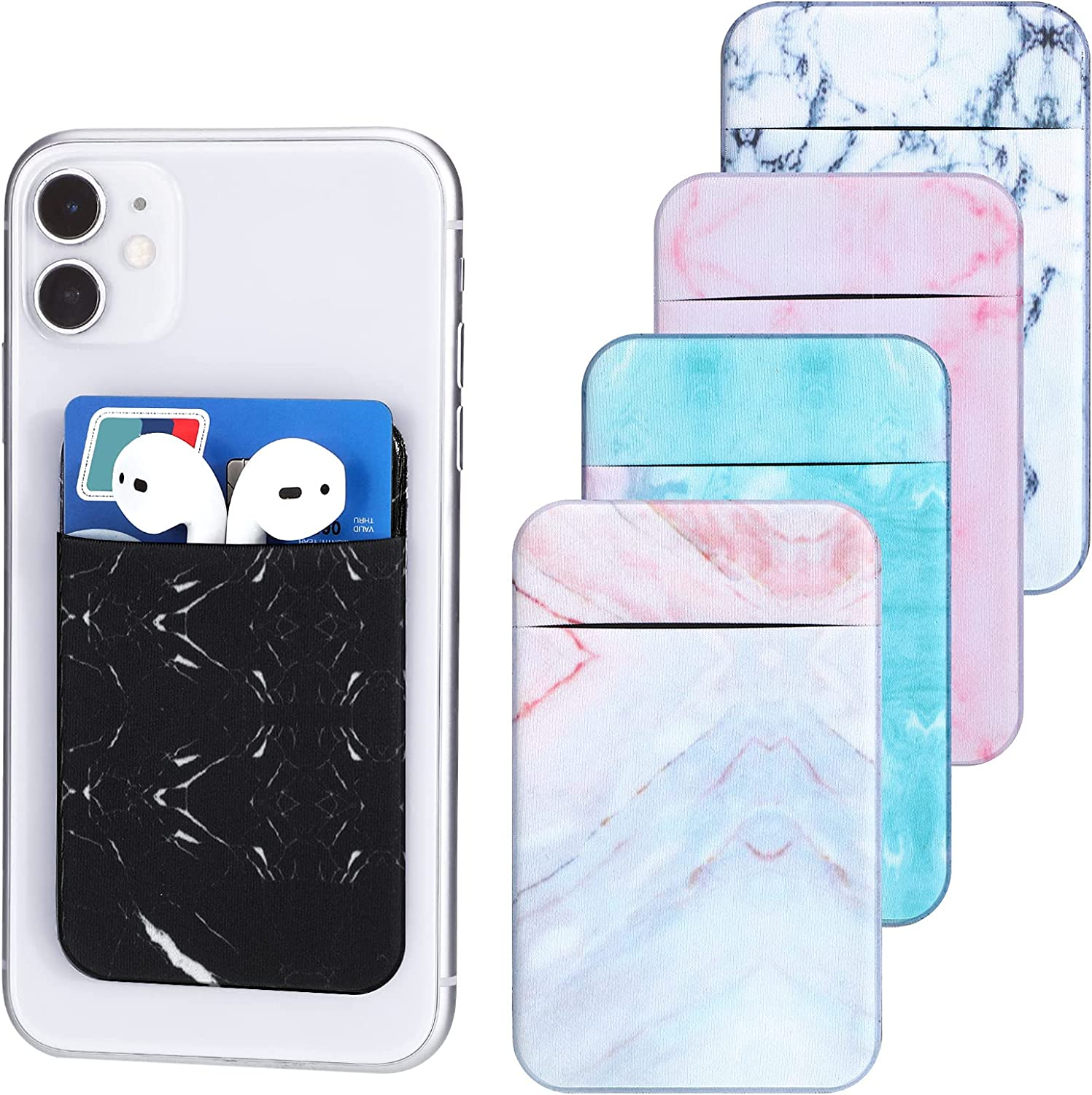 Kanayu 5 Pieces Marble Phone Card Holder Stretch Card Sleeve Credit Card Phone Wallet Adhesive Phone Pouch Pocket for Back of Most Smartphones, 5