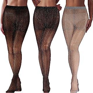 SATINIOR 3 Paar Metallic Strumpfhose Damen Shimmer Strumpfhose Glänzende elastische Strumpfhose mit Hoher Taille