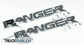 2 NEW PAIR (SET) OF CUSTOM CHROME AND BLACK RANGER RAPTOR STYLE BADGES EMBLEMS