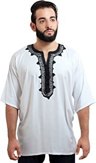 Moroccan Men Tunic Caftan Breathable Fiber Cotton Handmade Embroidery Ethnic White