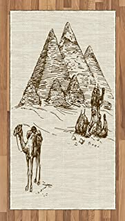 Lunarable Egyptian Area Rug, Ink Pen Hand-Drawn Travelers Pyramids of Khafre Khufu Menkaure in Cairo Egypt, Flat Woven Accent Rug for Living Room Bedroom Dining Room, 2.6' x 5', Ivory and Brown