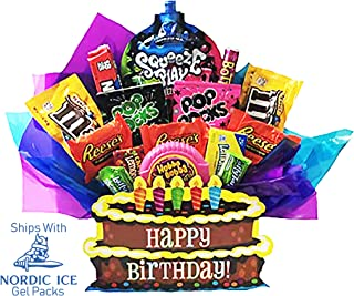 Happy Birthday Chocolate and Candy Present in Decorative Gift Box. Full of Brand Name Popular Items.