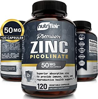 NutriFlair Zinc Picolinate 50Mg, 100 Tablets - Maximum Absorption Zinc Supplement Pills - Immune System Booster, Immunity Defense, Powerful Non-Gmo Antioxidant - Compare With Gluconate, Citrate, Oxide