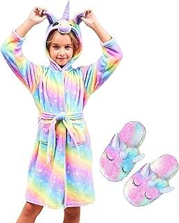 Unicorn Hooded Bathrobe Sleepwear Matching Slippers Girls...