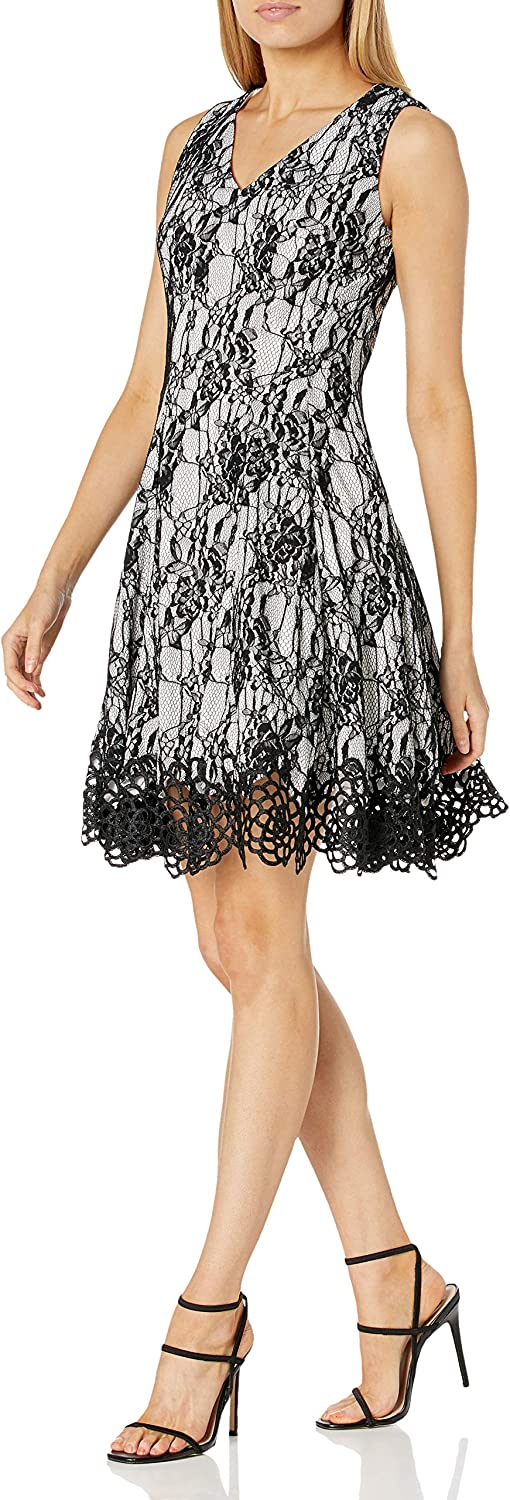 Chetta B Women's Mixed Lace Fit and Flare Party Dress