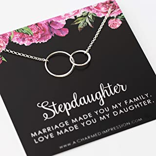 Stepdaughter Gift • From Stepmom Stepdad • 925 Sterling Silver • Two Connected Infinity Circles • Infinite Love Necklace • Marriage made you my family, love made you my Daughter