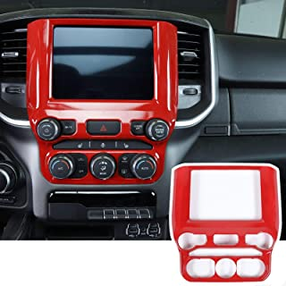 SQQP ABS Center Console Navigation GPS Radio Panel Trim for 2018 2019 2020 2021 Dodge Ram(Red)