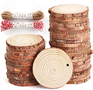 "ilauke Unfinished Wood Slices 50 Pcs 2.4""-2.8"" Natural Wood Rounds with Pre-drilled Hole and 66 Feet Twine String for Christmas Crafts Ornaments Party Wedding Decoration"