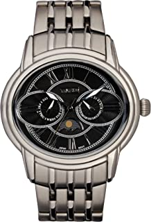 Time100 Men's Owl Eyes Moon Phases Multifunction Stainless Steel Band Quartz Watches #W80006G