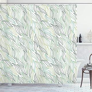 ABAKUHAUS Nature Shower Curtain, Modern Leaf Patterns, Cloth Fabric Bathroom Decor Set with Hooks, 175 cm x 180 cm, Pale G...