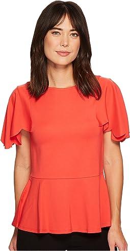 Ivanka Trump - Knit Peplum Scallop Sleeve Blouse