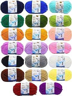 JZK 20 Multicolore 50g Coton au Lait Super Doux Fil de Laine pour Tricoter au Crochet Vêtements pour Bébé Chapeau Chaussur...