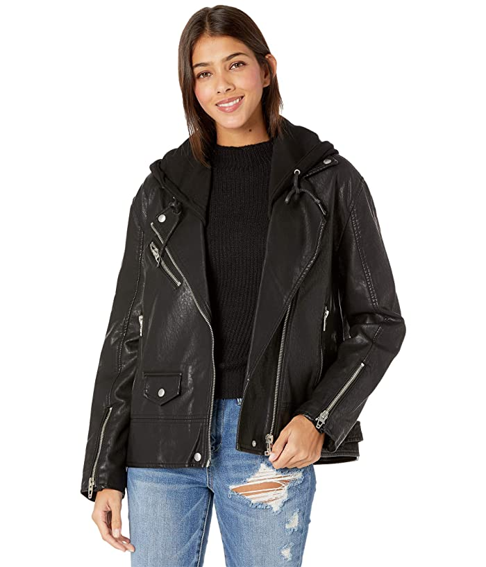 Blank NYC Leather Long Moto Jacket with Hood Detail (Raise The Bar) Women's Jacket
