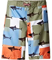 Appaman Kids - Shark Block Pattern Swim Trunks (Toddler/Little Kids/Big Kids)