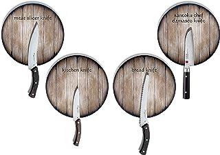 Ensemble de Couteaux de Cuisine Avec Porte-Couteaux Magnétiques en Bois Pour Mur Inspiré des Tonneaux de Vin Vieillis, Col...