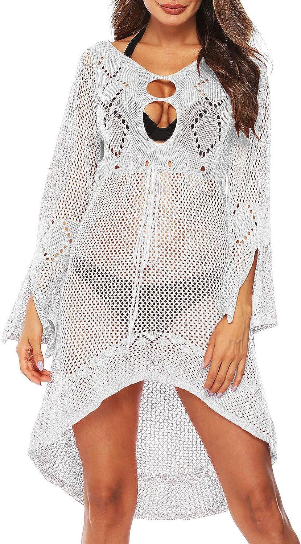 Wonderoy Women's Crochet Hollow Out Bathing Suits Swimsuit Bikini Swimwear Beach Dress Cover Ups