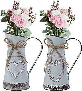 Ulikey 2 Pièces Vase Galvanisé Rustique, Rustique Pot de Fleur Décoration, Vase de Décoration de Ferme, Vases à Fleurs en ...