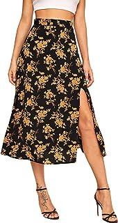 SheIn Women's Floral Print Split Side High Waist A-Line Midi Skirt