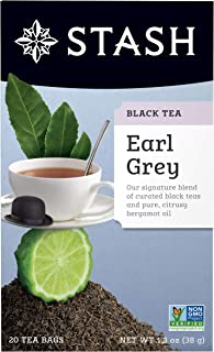 Stash Tea Earl Grey Black Tea, 20 Count Tea Bags Individually Wrapped in Foil, Black Tea with Citrus-y Bergamot, Premium Black Tea, Full Caffeine, Drink Hot or Iced