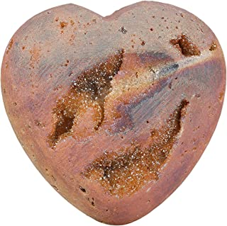 SUNYIK Carved Gemstone Puffy Heart Pocket Stone, Titanium Coated Drusy Geode Quartz Agate Healing Crystal Chakra Reiki, Ch...