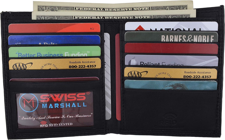 Swiss Marshall RFID Blocking Men's Slim Bifold Hipster Credit Card Premium Lambskin Leather European Wallet
