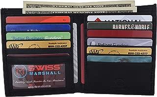 RFID Blocking Men's Slim Bifold Hipster Credit Card Premium Lambskin Leather European Wallet