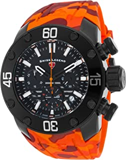 Swiss Legend 10617Sm-Bb-01-Oas Lionpulse Chronograph Orange Camo Silicone Black Dial Watch