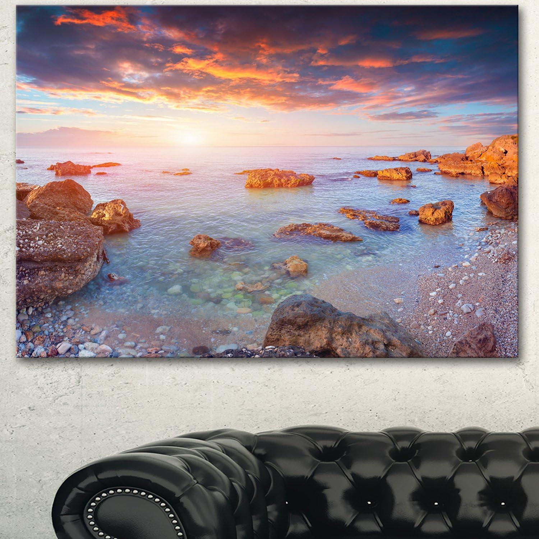 Designart PT14287-20-12 Sunrise on South Coast of Sicily Canvas Artwork Print, bluee, 20x12