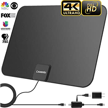 HDTV Antenna Indoor Digital 60-80 Miles Long Range TV Antenna with 2018 Newest Amplifier Signal Booster Support 1080p 4K and All Older TVs High Performance 16.5 Feets Coaxial Cable Power Adapter