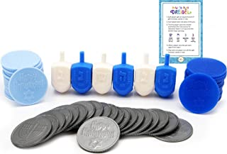 Hanukkah Dreidel Game - Game of Draydel for Chanukah - Includes 6 Blue and White Dreidels - 25 Play Coins - Dreidel Game Instructions