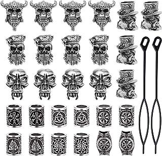 YMHPRIDE 30 pezzi Perline da barba vichinghe Perline antiche del tubo dei capelli norvegesi Pirate Skull Dreadlocks Beads ...
