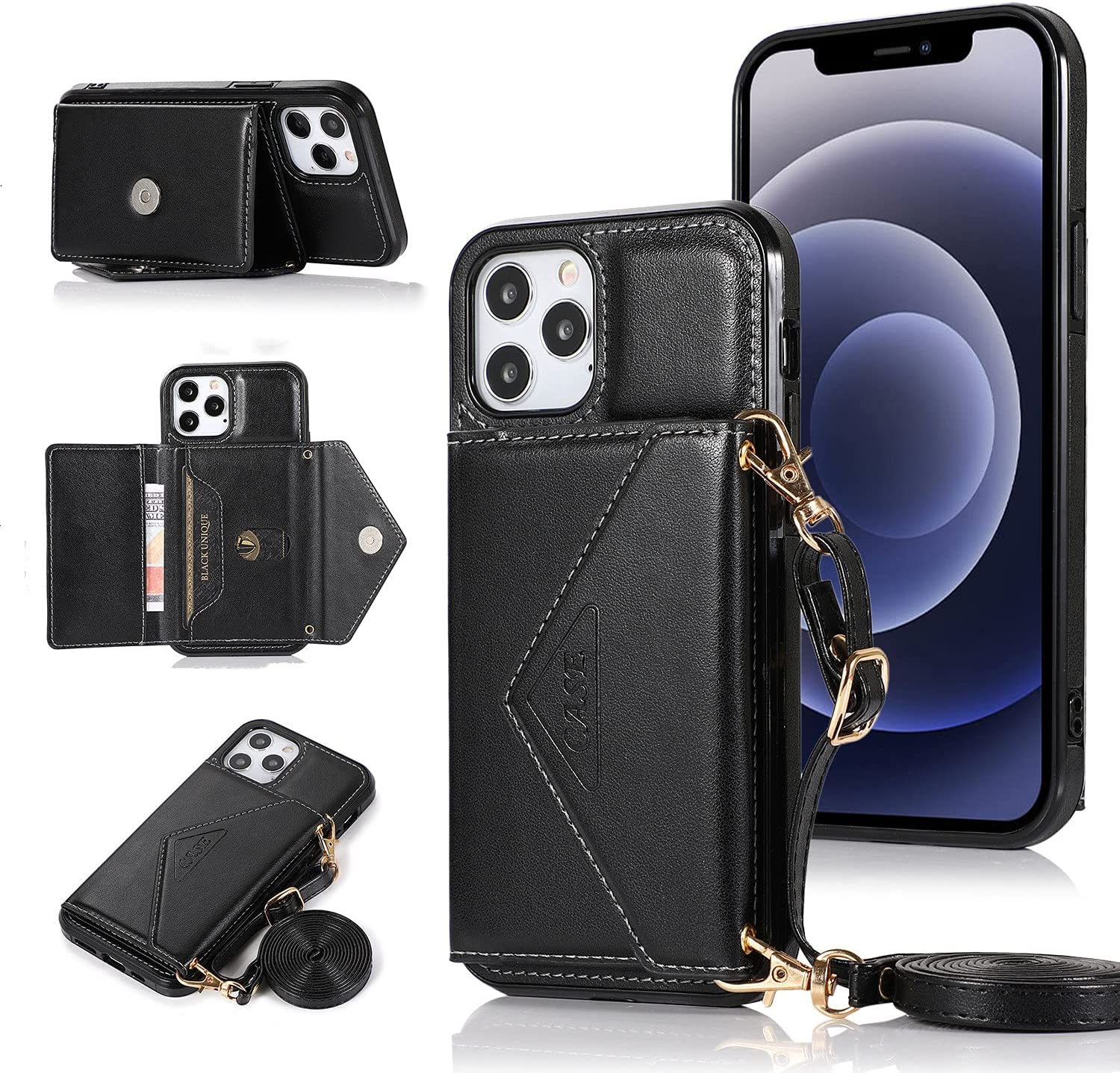 ISYSUII Crossbody Case for Samsung Galaxy S10 Wallet Case with Card Holder Kickstand Detachable Lanyard Strap Leather Shockproof Protective Flip Cover Magnetic Handbag Cover,Black