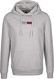 Tommy Jeans Men's Embroidered Box Pullover Hoodie, Grey, M