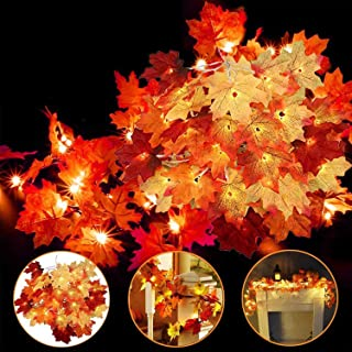 4 Pack Thanksgiving Fall Decorations Leaf Garland String Lights for Indoor Outdoor 10 ft..