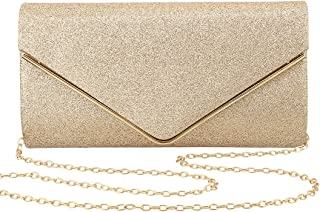 Gabrine Womens Evening Envelop Bag Handbag Clutch Purse Shiny Sequins Fabric Material for Wedding Party Prom