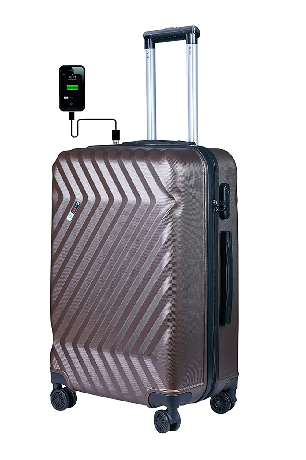 Buy 3G Atlantis Smart Series Unisex USB Charging Polycarbonate 24 Inch, 65  cm 4 Wheel Trolley Luggage Check in Size Suitcase (Brown) at Amazon.in