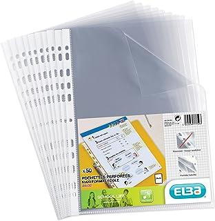 Elba Sachet de 50 Pochettes perforées pour Document 24 x 32 cm en polypropylène Transparent